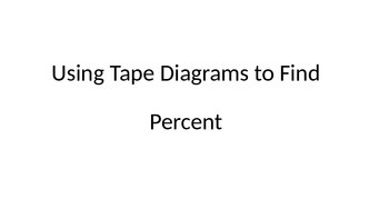 Using Tape Diagrams with Percent Problems