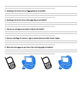 Using Technology to Stay Healthy- Article and Response Questions