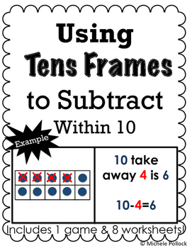ten frame subtraction worksheet teaching resources  teachers pay  using tens frames to subtract using tens frames to subtract