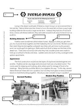 Using Text Features Worksheet - Pueblos