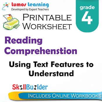 Using Text Features to Gather Information Printable Worksheet, Grade 4