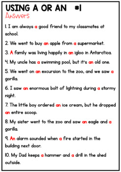 Using The Article  A or An - Worksheet