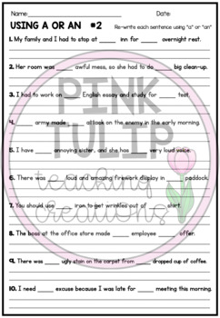 Using The Article  A or An - Worksheet Pack