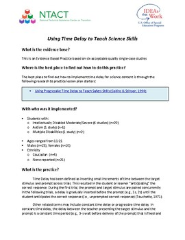 Using Time Delay to Teach Science Skills