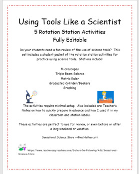Using Tools Like a Scientist Rotation Station Activities - Fully Editble