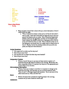 Using Transition Words - Lesson plan