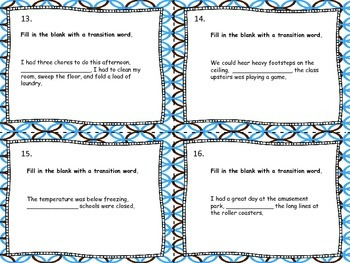 Using Transition Words Task Cards