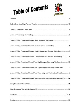Transition Words Unit - PowerPoint, Anchor Chart, Independent Practice, Test