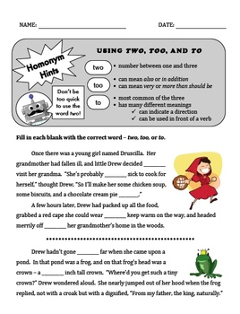 Using Two, Too, & To Grammar PPT + Printables