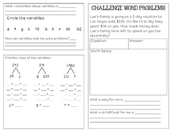 Using Variables in Addition and Subtraction Problems-Foldable