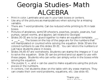 Using Variables in Math- Special Education
