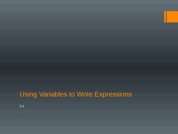Using Variables to Write Expressions