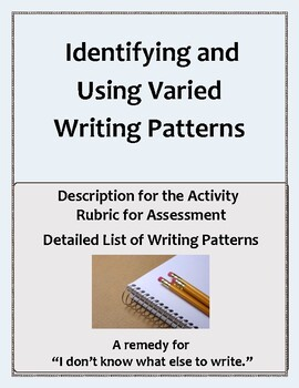 Activities for Identifying and Using Varied Writing Patterns in Paragraphs