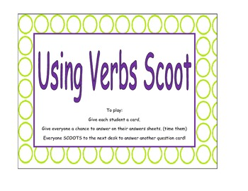 Using Verbs Scoot Game (task cards)