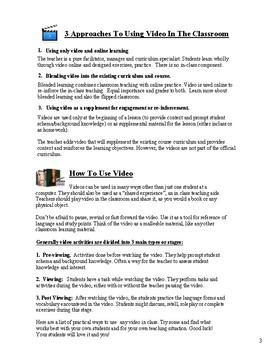 Using Video In The Classroom - A Teacher's Handbook