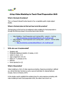Using Video Modeling to Teach Food Preparation