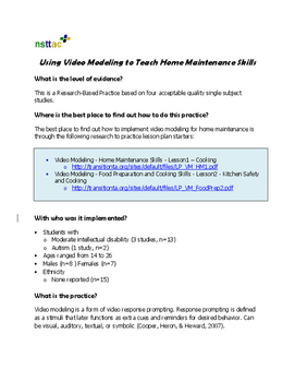 Using Video Modeling to Teach Home Maintenance Skills