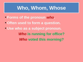 Using Who, Whose and Whom for Visual Learners