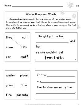 Winter Compound Words Grades 1-2
