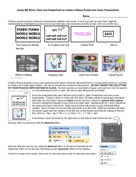 Using Word, Paint, Word Art and Powerpoint to create a Rebus