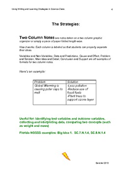 Using Common Core Writing and Learning Strategies in Science Class