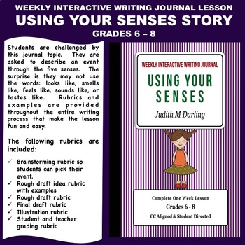 Interactive Weekly Writing Notebook Lesson -Using Your Sen