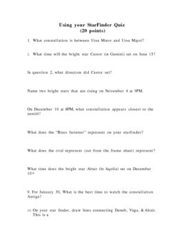 Using Your Starfinder Planisphere Quiz Star Finder