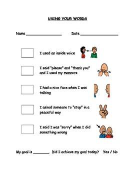 Using Your Words Behaviour Checklist