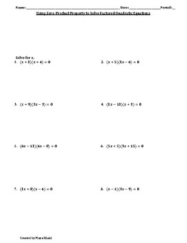 Using Zero-Product to Sovle Quadratic Equations Worksheet