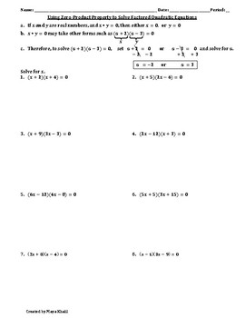 Using Zero-Product to Sovle Quadratic Equations Worksheet by Maya Khalil