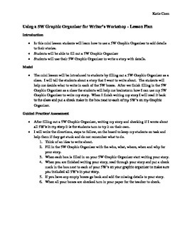 Using a 5W Graphic Organizer for Writer's Workshop - Lesson Plan
