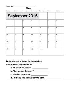 Using a Calendar Activities 2015