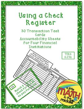 Using a Check Register Task Cards TEKS 6.14C