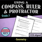 Using a Compass, Ruler and Protractor Worksheet