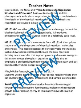 Using a Foldable to Model Photosynthesis/Celular Respiration MS LS1-7 (Editable)