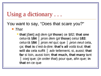 Using a French/English Dictionary