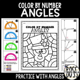 Using a Protractor and Adjacent Angle Practice: Halloween Color by Number