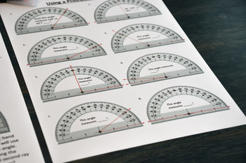 Using a protractor to measure angles Distance Learning + PDF