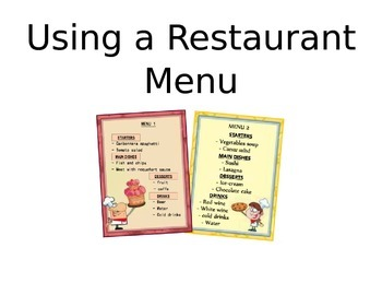 Using a Restaurant Menu Autism Social Story