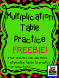 Using a Table:  Multiplication Basic Facts FREEBIE!