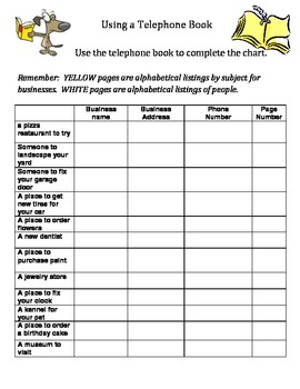 Using a Telephone Book- Scavenger Hunt
