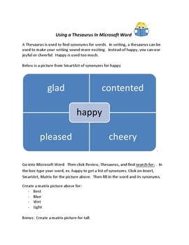 Using a Thesaurus with Microsoft Word