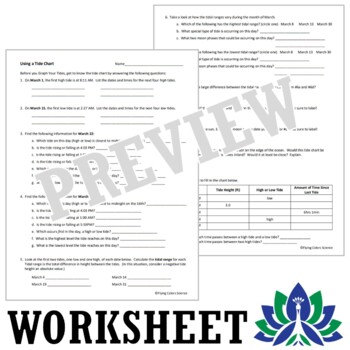Using a Tide Chart Worksheet  NGSS MS-ESS1-2 HS-ESS1-4