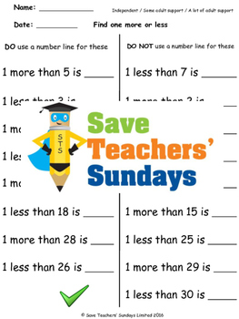 Finding less and more using a hundred square worksheets (4 levels of difficulty)