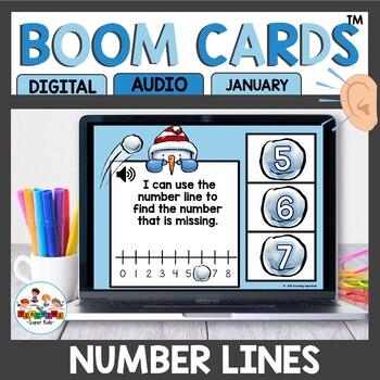 Using a number line Digital Task Cards Boom