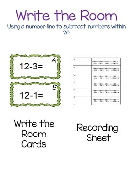 Using a number line to subtract within 20. Write the Room