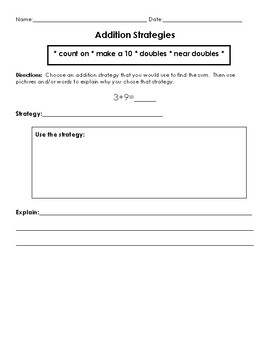 Using addition strategies worksheet