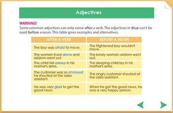 Using adjectives, nouns and verbs