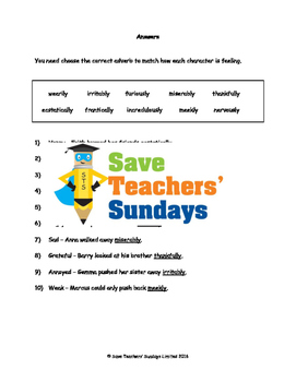 Using adverbs to show emotions PowerPoint, Worksheet and List