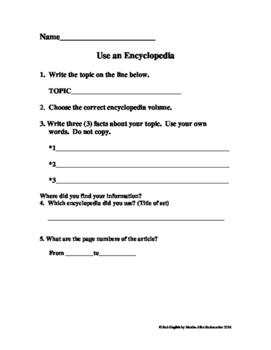 Using an Encyclopedia